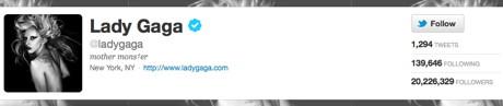 Lady Gaga atinge un record mondial la numar de followeri pe Twitter
