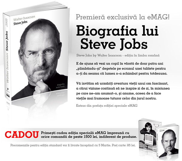 Biografia lui Steve Jobs in premiera exclusiva la eMAG!